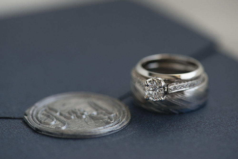 Blue and Silver Waterside Wedding | Virginia Beach Wedding | Wedding rings with name seal