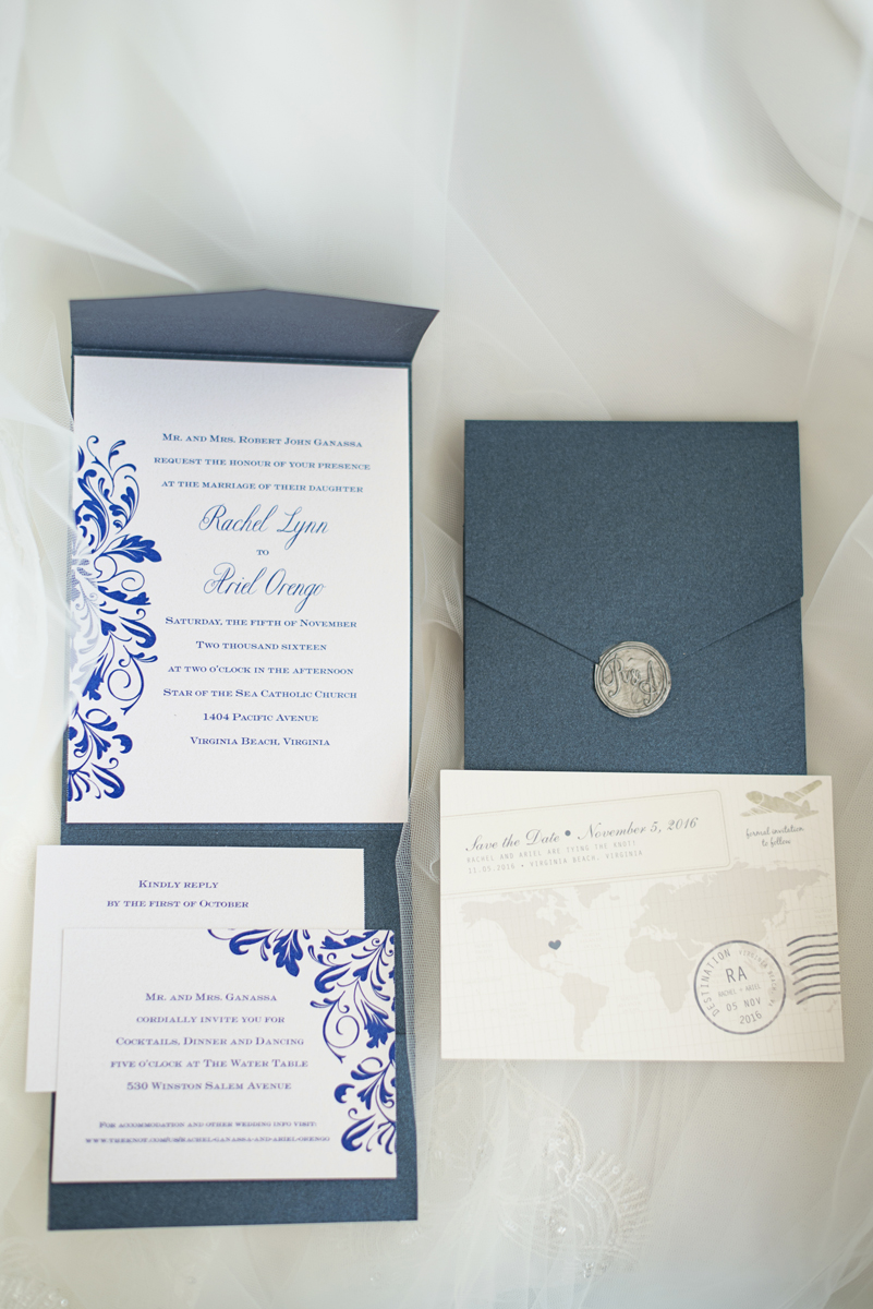 Blue and Silver Waterside Wedding | Virginia Beach Wedding | Blue travel themed invitations