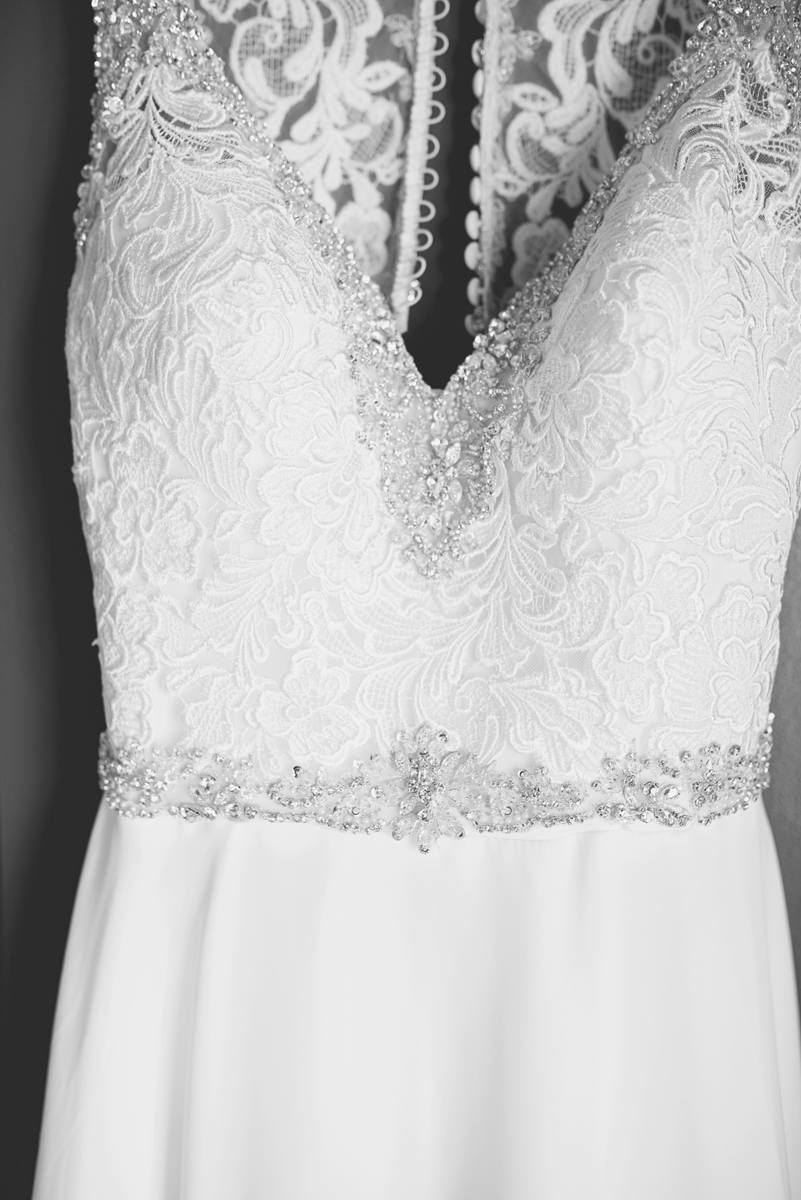 Blue and Silver Waterside Wedding | Virginia Beach Wedding | Elegant lace and sequin belted wedding dress