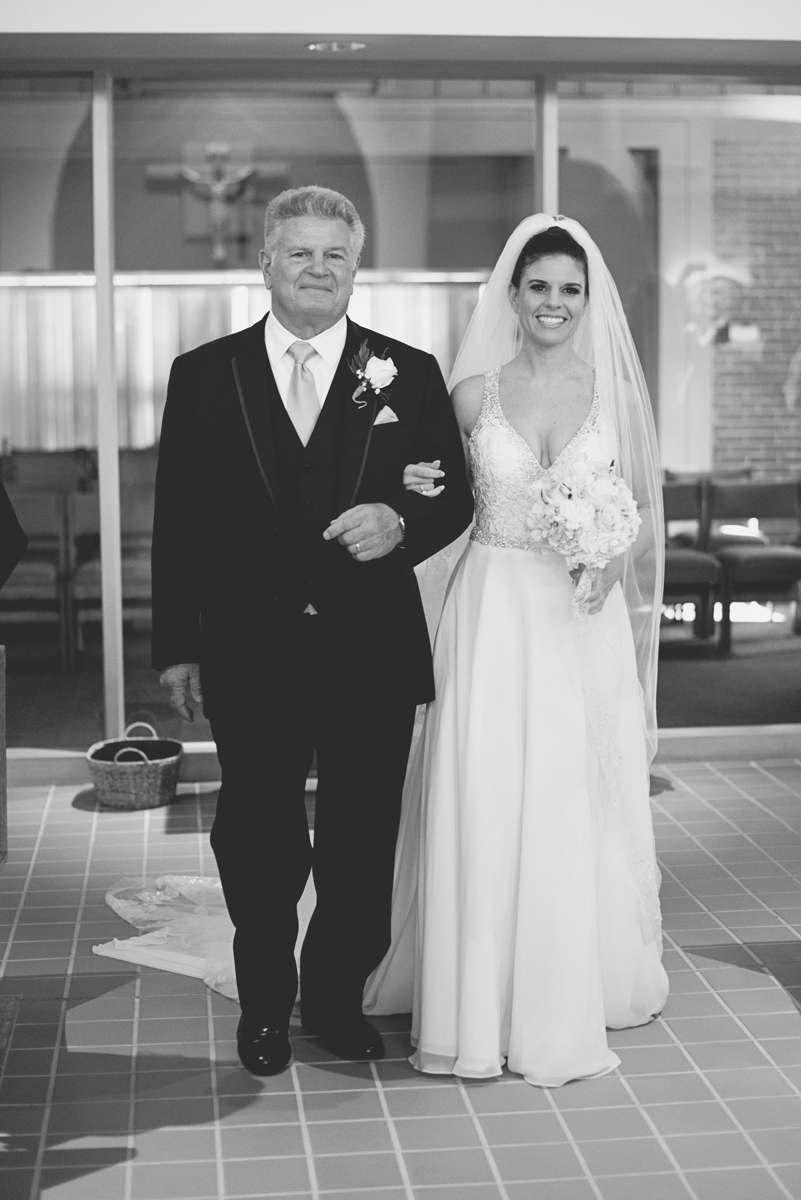 Blue and Silver Waterside Wedding | Virginia Beach Wedding | Bride with father walking down the aisle