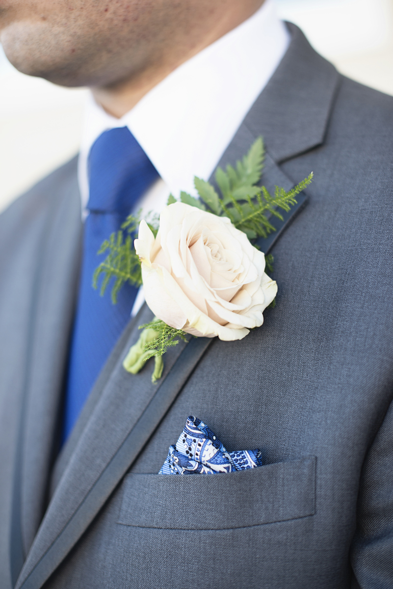 Blue and Silver Waterside Wedding | Virginia Beach Wedding | White rose boutonniere