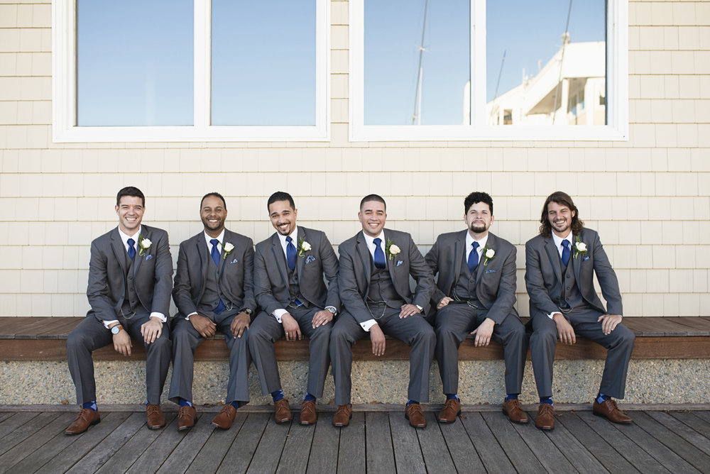 Blue and Silver Waterside Wedding | Virginia Beach Wedding | Gray and blue groomsmen