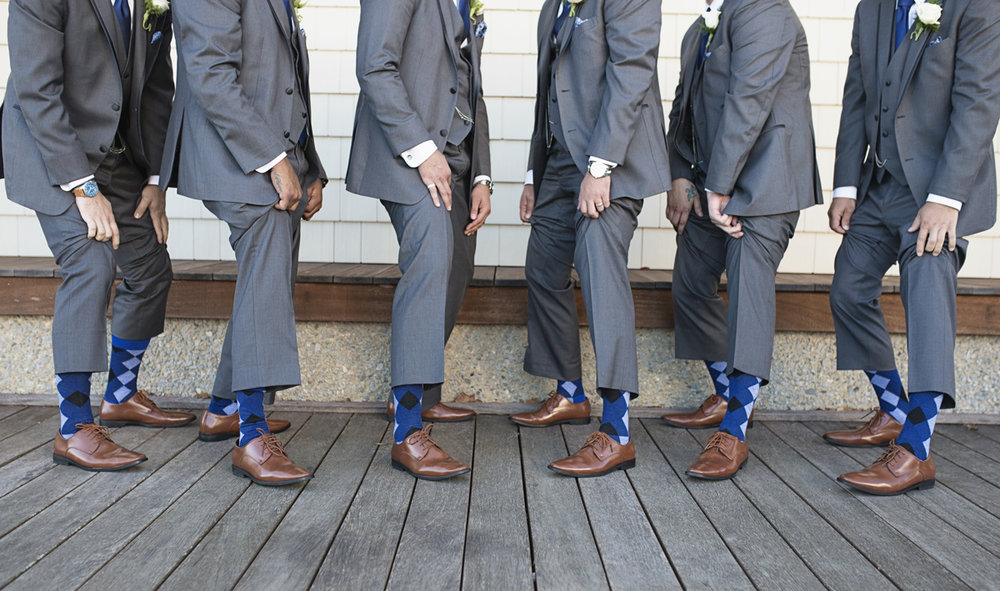 Blue and Silver Waterside Wedding | Virginia Beach Wedding | Gray and blue groomsmen socks