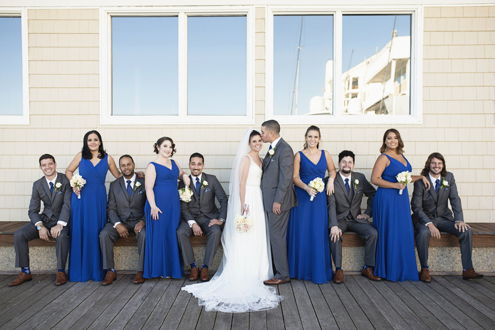 Blue and Silver Waterside Wedding | Virginia Beach Wedding | Royal blue and gray bridal party
