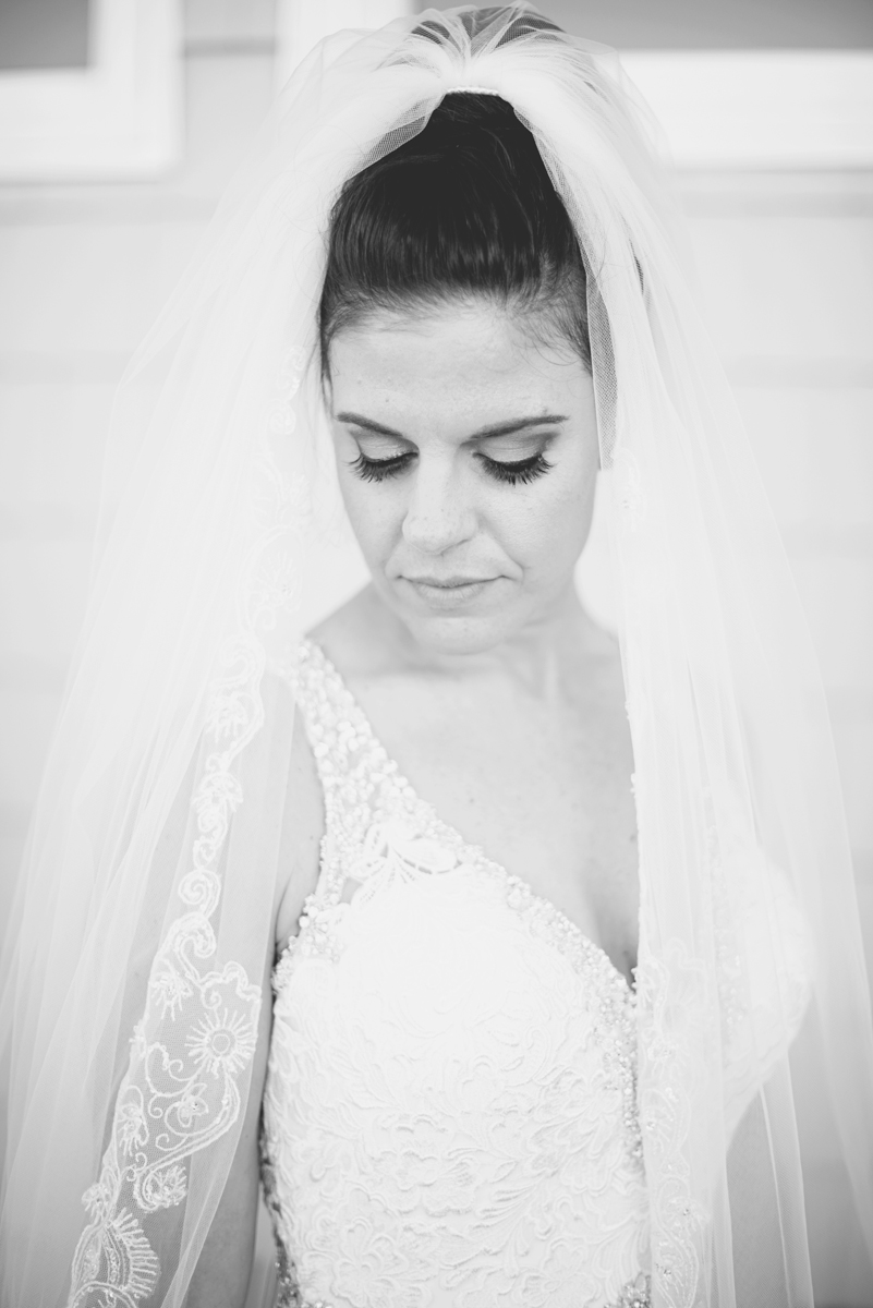 Blue and Silver Waterside Wedding | Virginia Beach Wedding | Iconic black and white bridal portrait