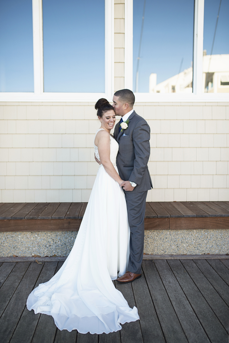Blue and Silver Waterside Wedding | Virginia Beach Wedding | Bride and groom portraits