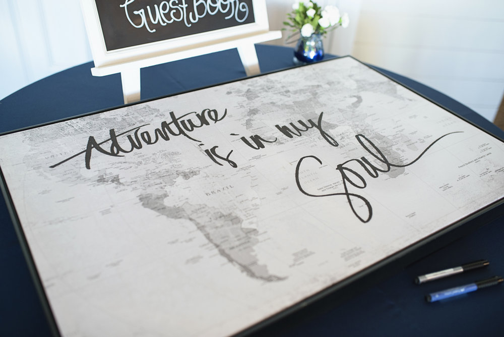 Blue and Silver Waterside Wedding | Virginia Beach Wedding | World map guestbook