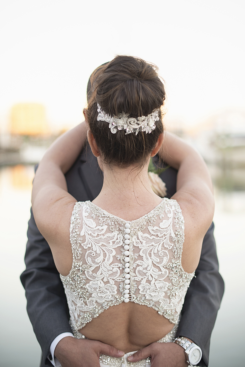 Beaded lace statement back wedding dress with low keyhole cutout