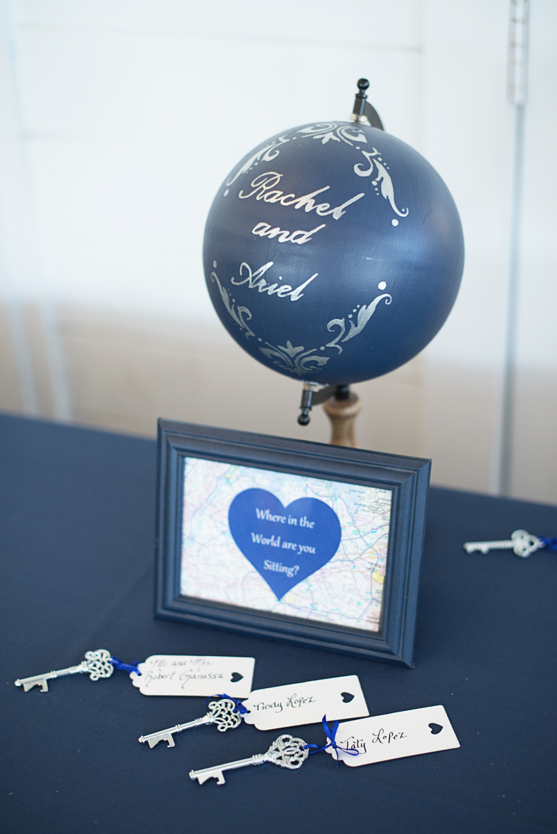 Blue and Silver Waterside Wedding | Virginia Beach Wedding | Travel themed reception placecards