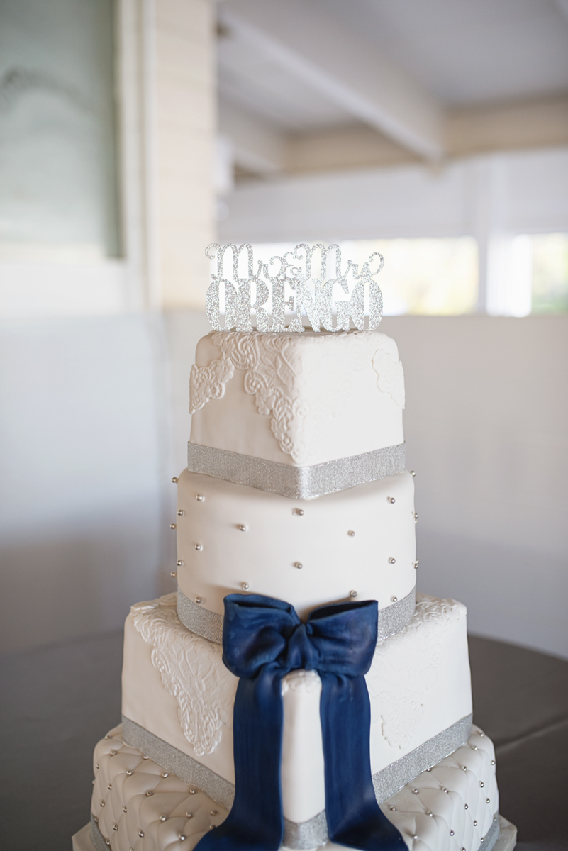 Blue and Silver Waterside Wedding | Virginia Beach Wedding | Elegant blue, silver, and white wedding cake