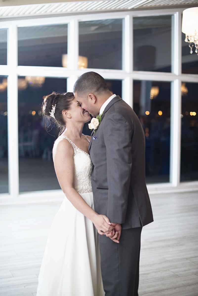 Blue and Silver Waterside Wedding | Virginia Beach Wedding | Bride and groom first dance