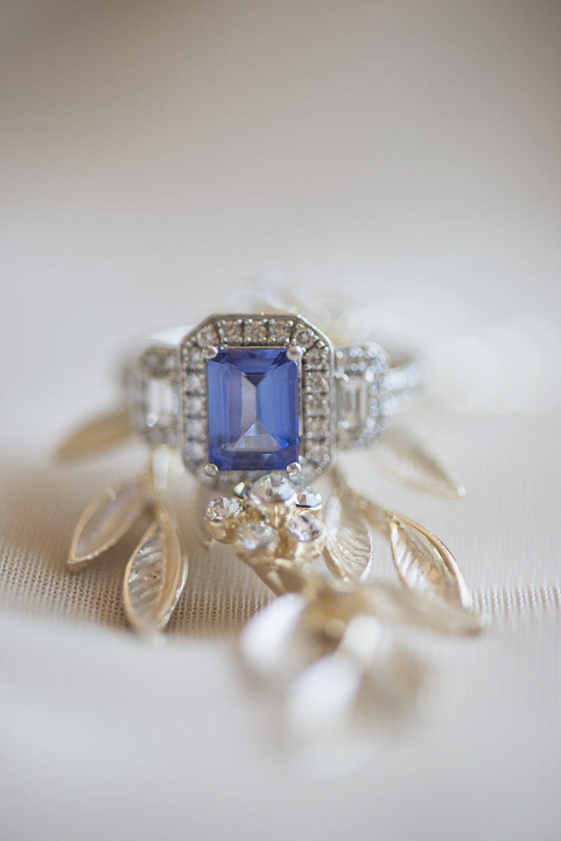Classic Crimson and Champagne Fall Wedding | Virginia Wedding | Blue tanzanite wedding ring