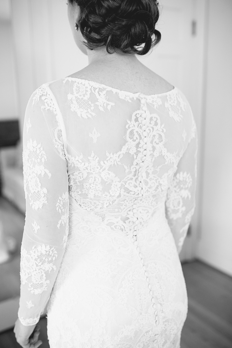 All lace button up wedding dress