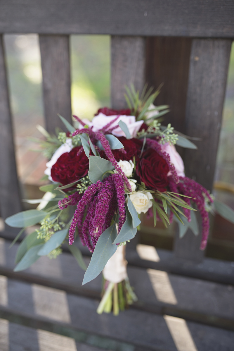 Classic Crimson and Champagne Fall Wedding | Virginia Wedding | Crimson, white, and green bridal bouquet