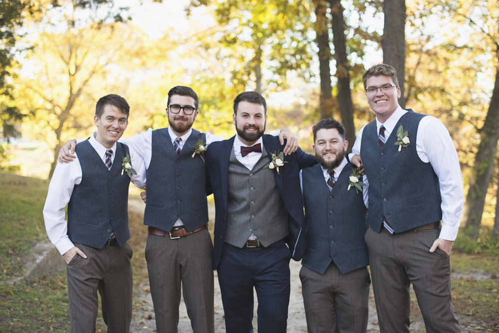 Classic Crimson and Champagne Fall Wedding | Virginia Wedding | Gray and brown groomsmen attire