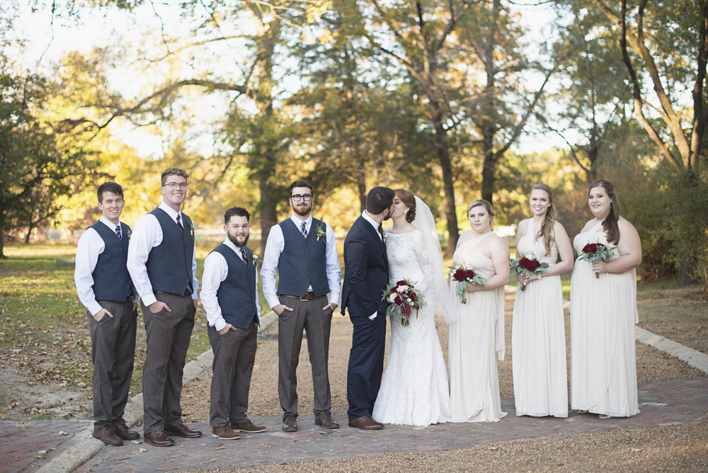 Classic Crimson and Champagne Fall Wedding | Virginia Wedding | Champagne and gray bridal party
