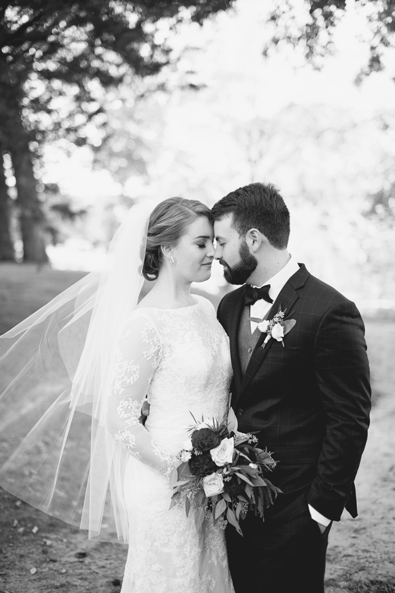 Iconic black and white romantic bride and groom portrait