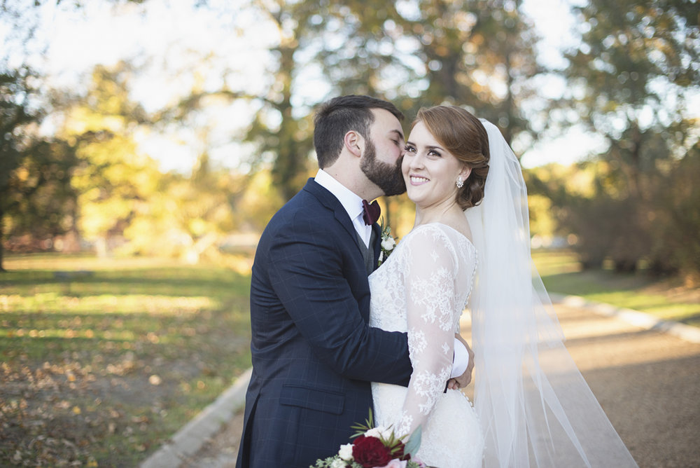 Bride and groom portraits with all-over lace wedding dress