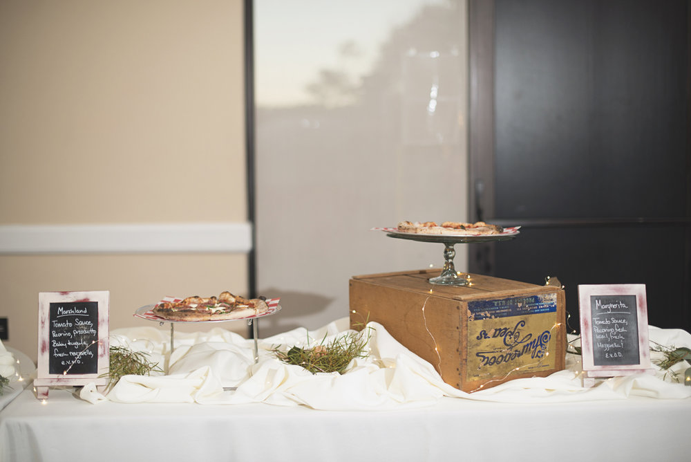 Gourmet pizzas at wedding reception