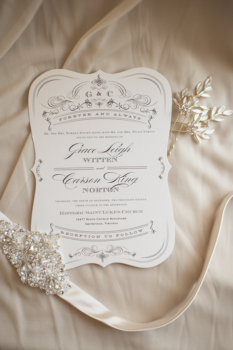 Classic Crimson and Champagne Fall Wedding | Virginia Wedding | Timeless wedding invitations