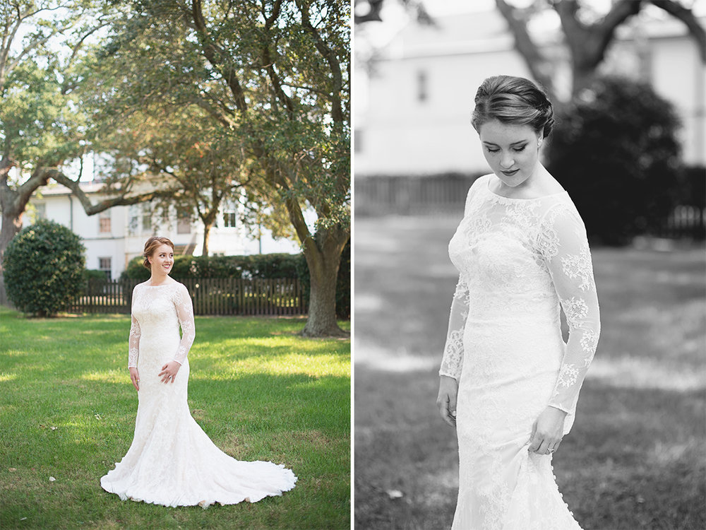 All-over lace long sleeved wedding dress
