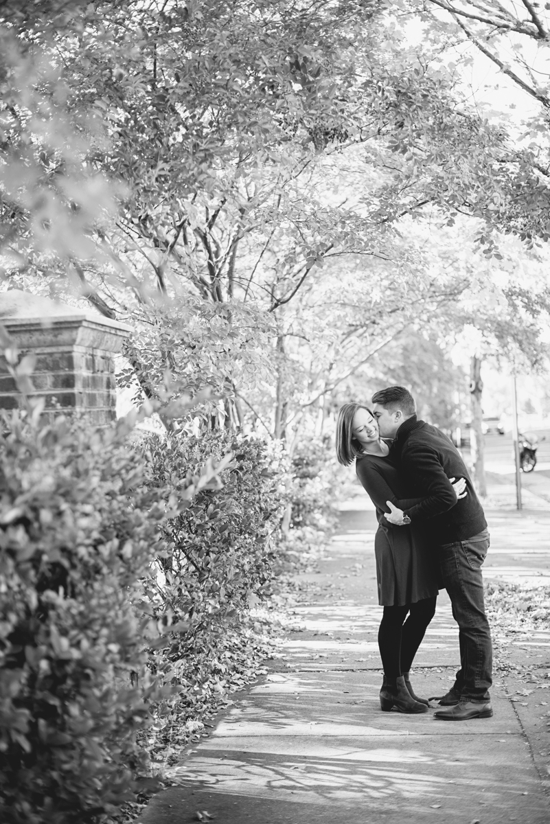 Black and White Fall Engagement Pictures