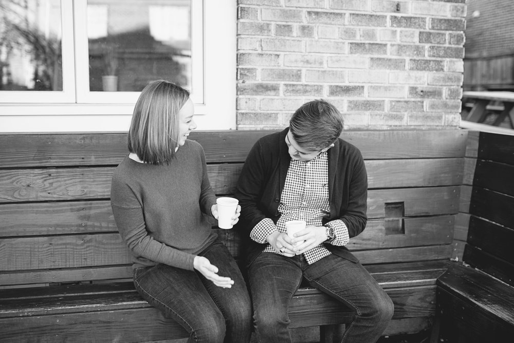 Coffee Shop Fall Engagement Pictures