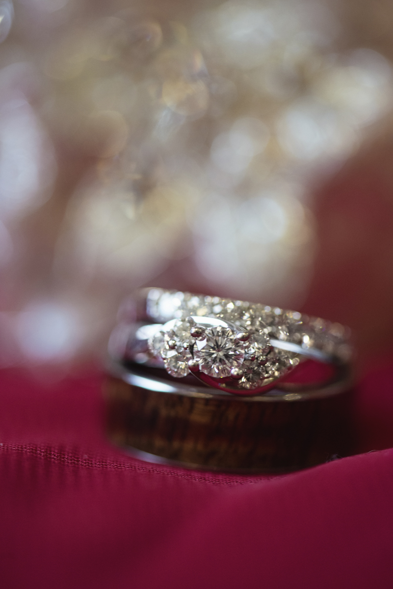 Downtown Nashville Winter Wedding | Crimson and Black Wedding | Wedding rings