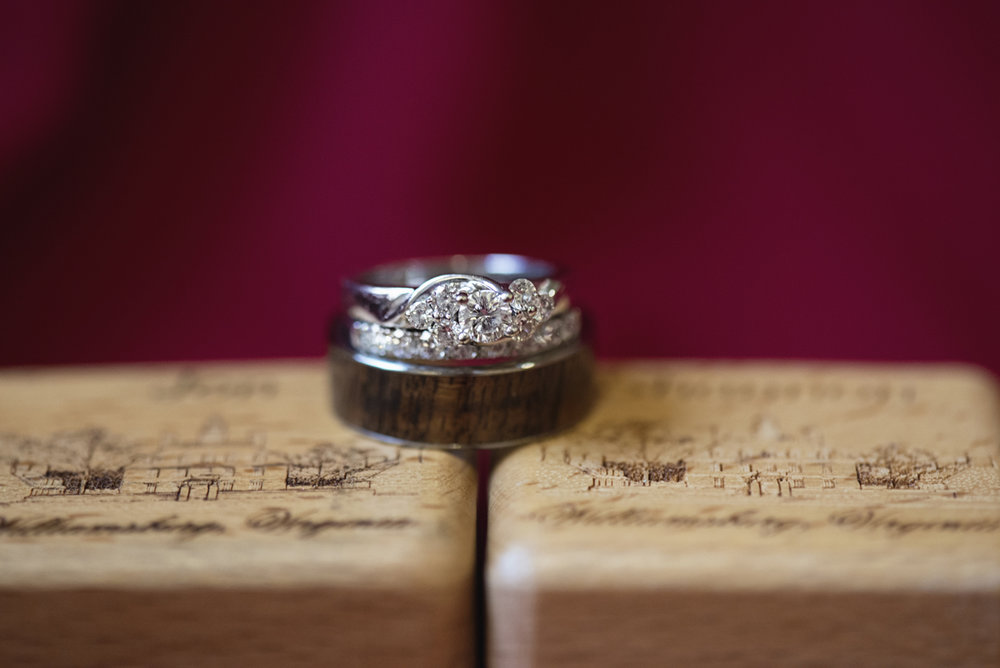 Downtown Nashville Winter Wedding | Crimson and Black Wedding | Wedding rings and wooden carved ring box