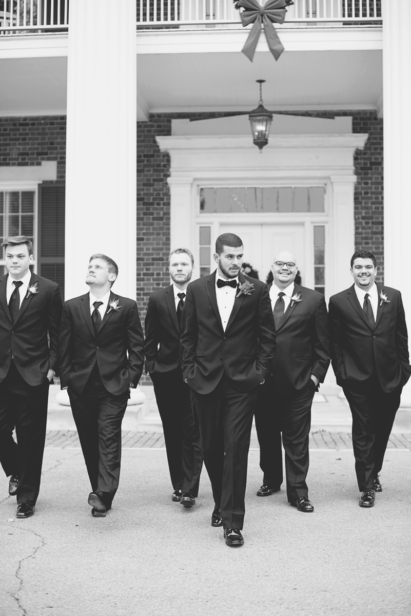 Downtown Nashville Winter Wedding | Crimson and Black Wedding | Crimson, green, and black bridal party portraits