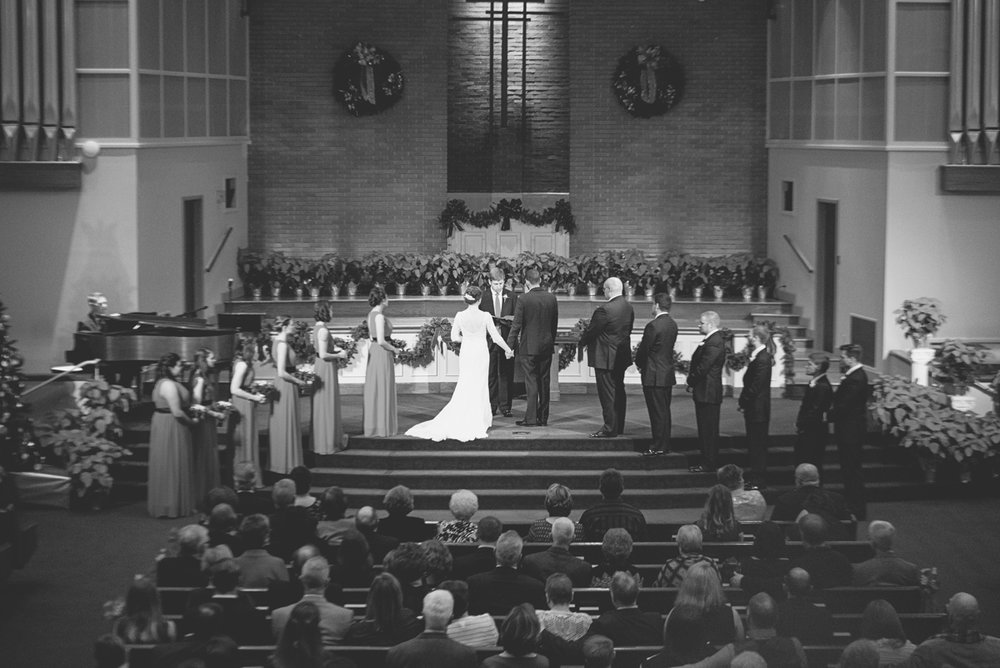 Downtown Nashville Winter Wedding | Crimson and Black Wedding | Church wedding ceremony