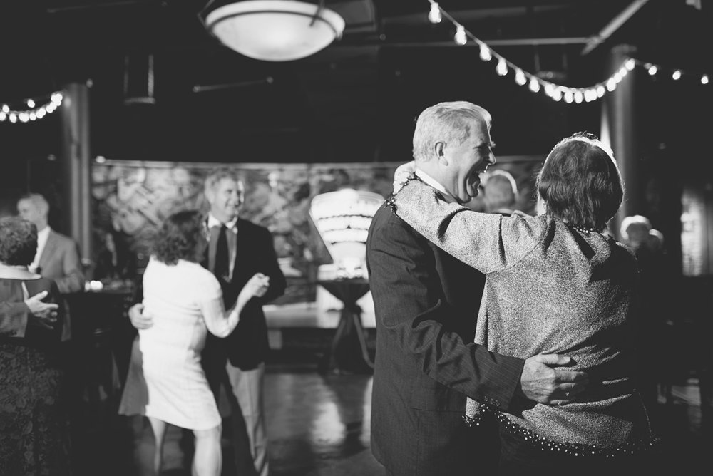 Downtown Nashville Winter Wedding | Crimson and Black Wedding | Wedding reception dancing
