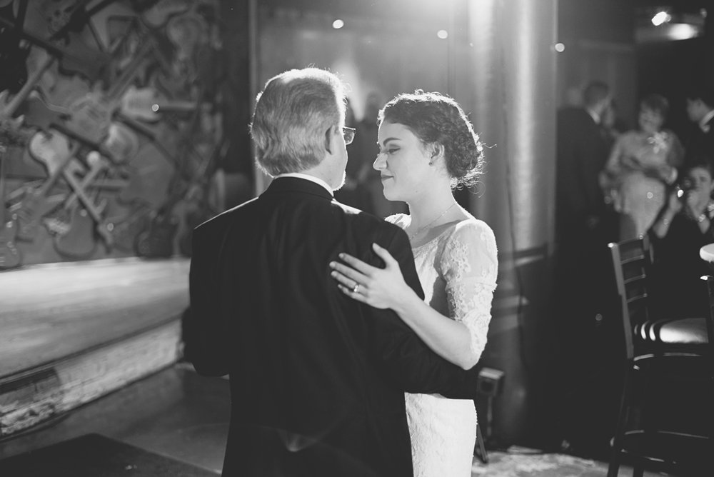 Downtown Nashville Winter Wedding | Crimson and Black Wedding | Father daughter dance