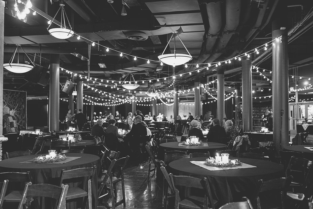 Downtown Nashville Winter Wedding | Crimson and Black Wedding | Twinkling lights wedding reception