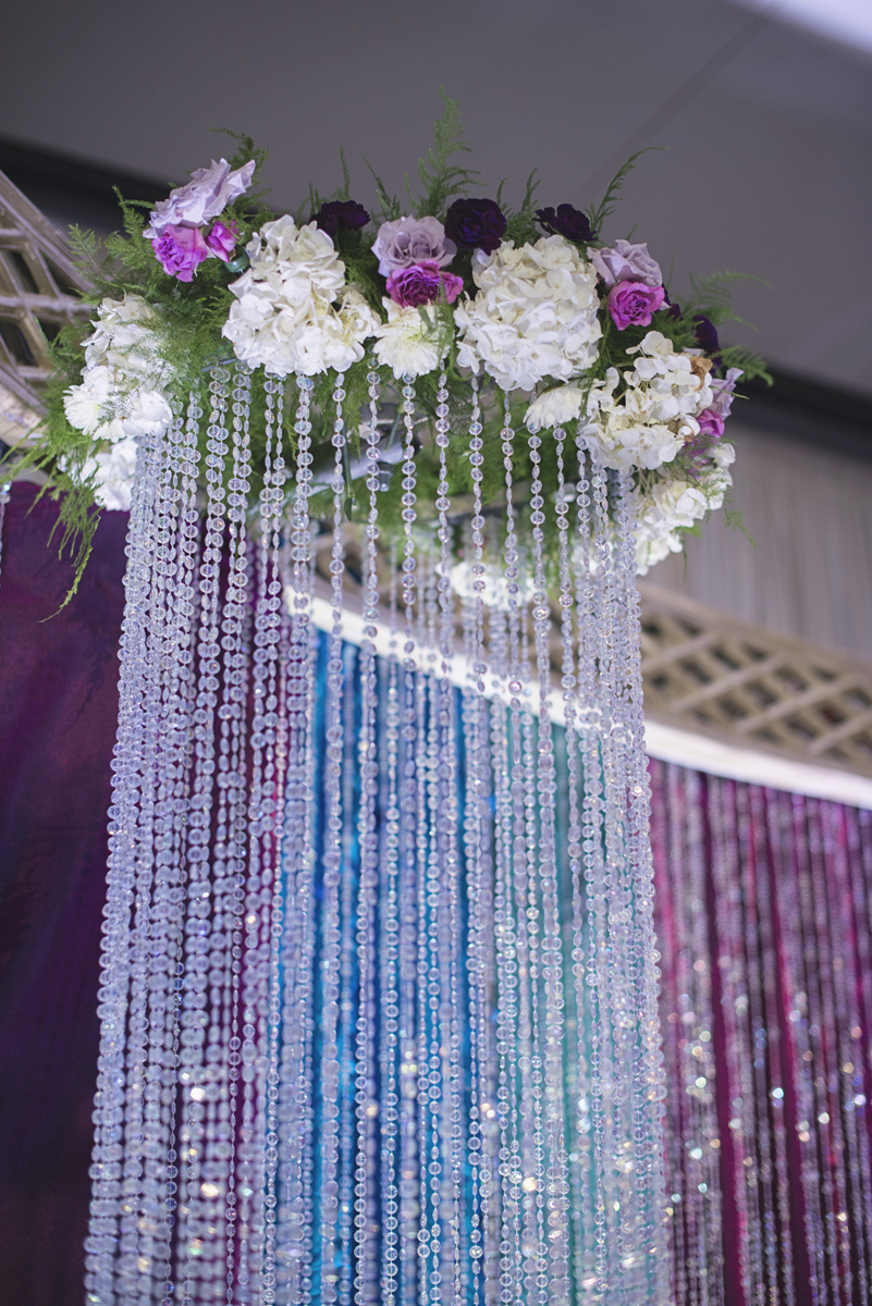 Washington, DC, Indian Wedding Reception with Purple, Blue, and Crystal details