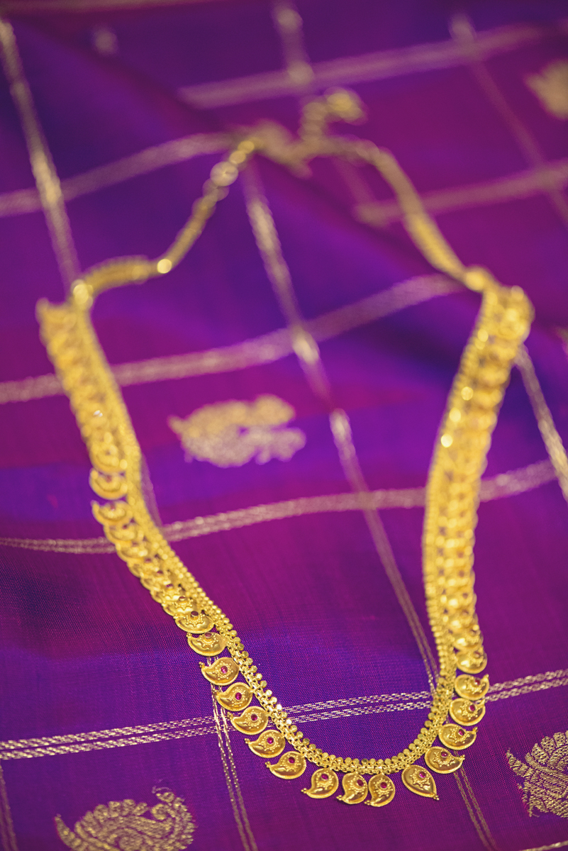 Royal Purple and Gold Indian Wedding | Washington, DC | Gold Hindu necklace