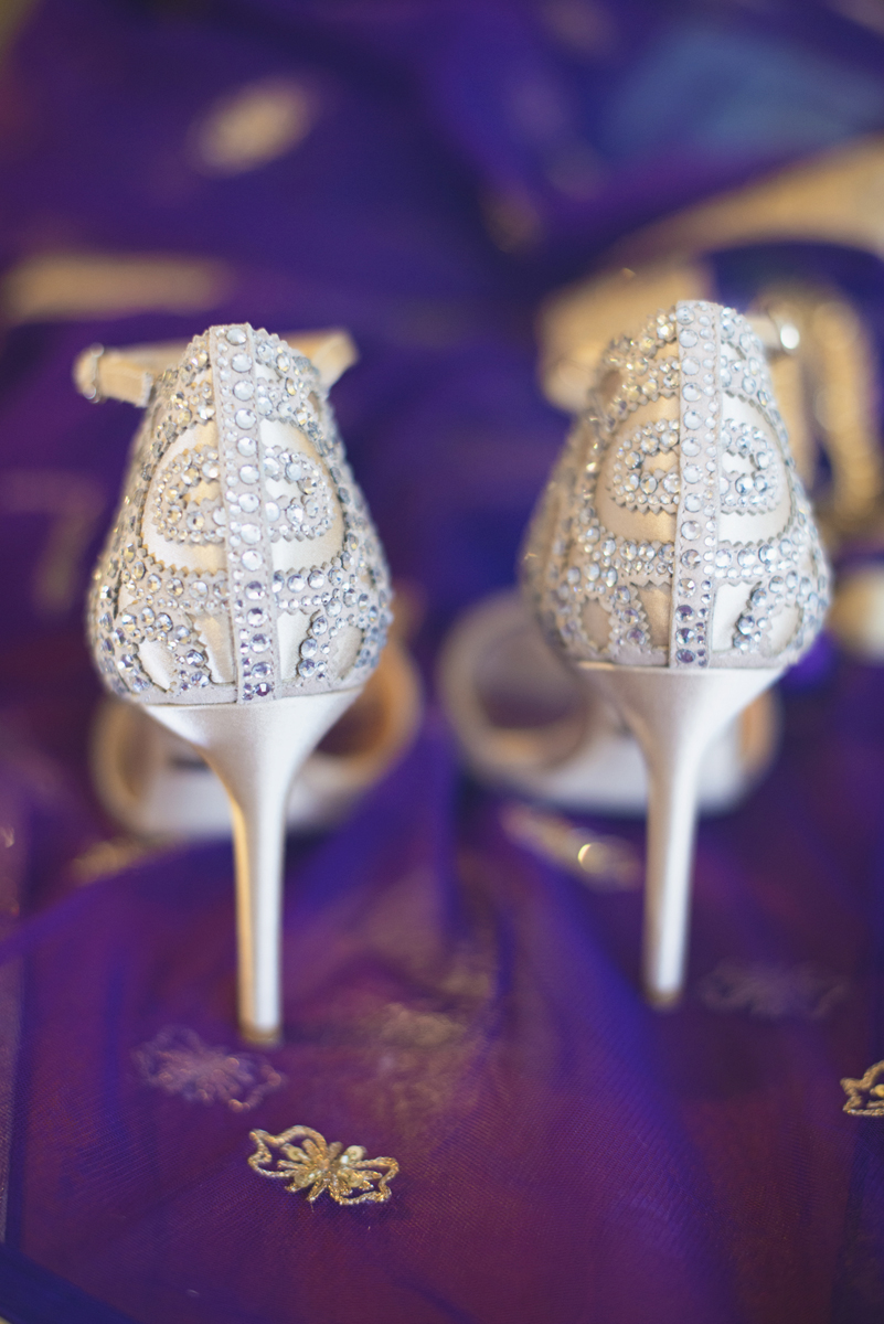 Royal Purple and Gold Indian Wedding | Washington, DC | Crystal Badgley Mischka shoes