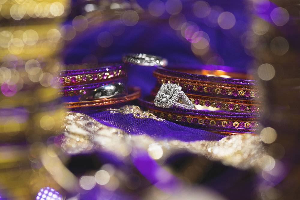 Royal Purple and Gold Indian Wedding | Washington, DC | Purple and gold wedding ring shot