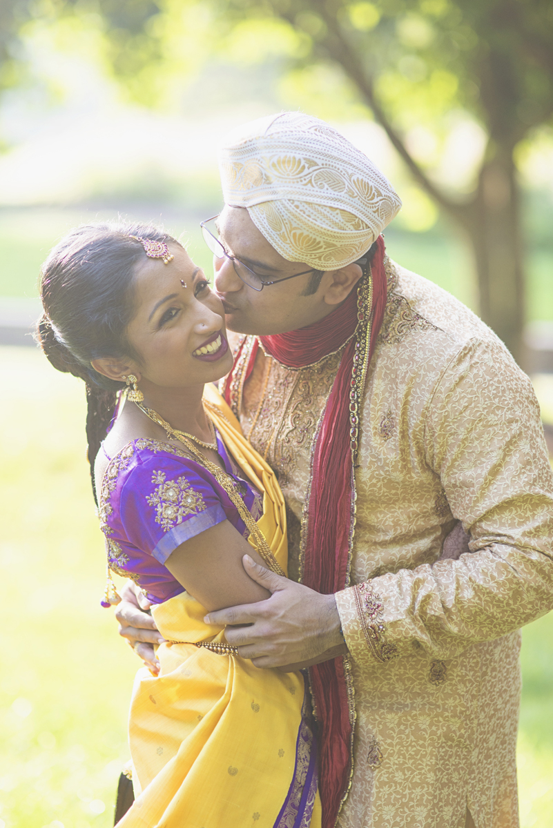 Royal Purple and Gold Indian Wedding | Washington, DC | Bride and groom first look