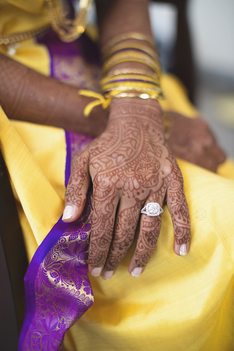Royal Purple and Gold Indian Wedding | Washington, DC | Indian henna bridal tattoos