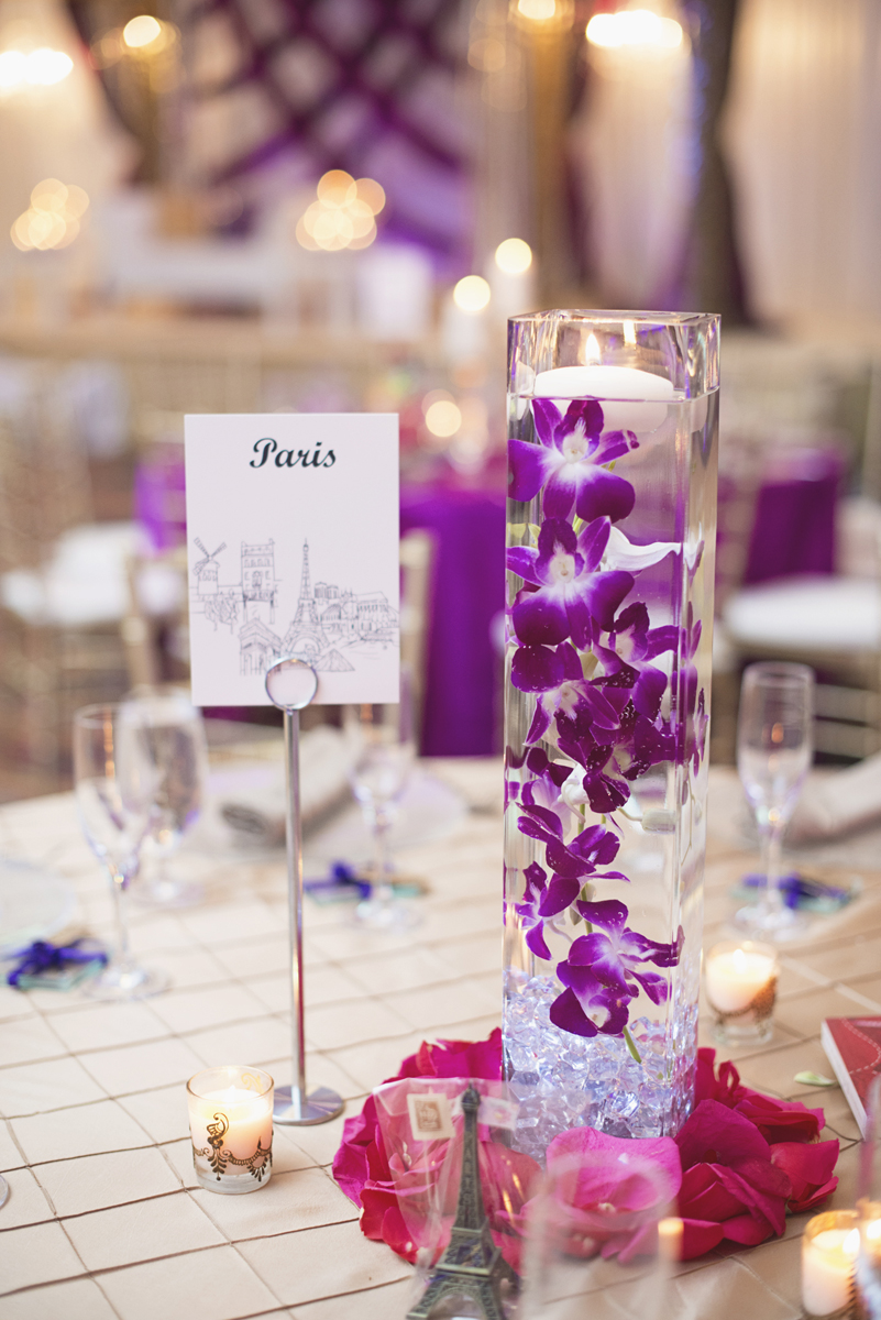 Royal Purple and Gold Indian Wedding | Washington, DC | Purple and gold wedding reception   centerpiece