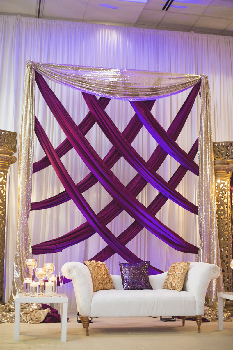Royal Purple and Gold Indian Wedding | Washington, DC | Purple and gold wedding reception stage