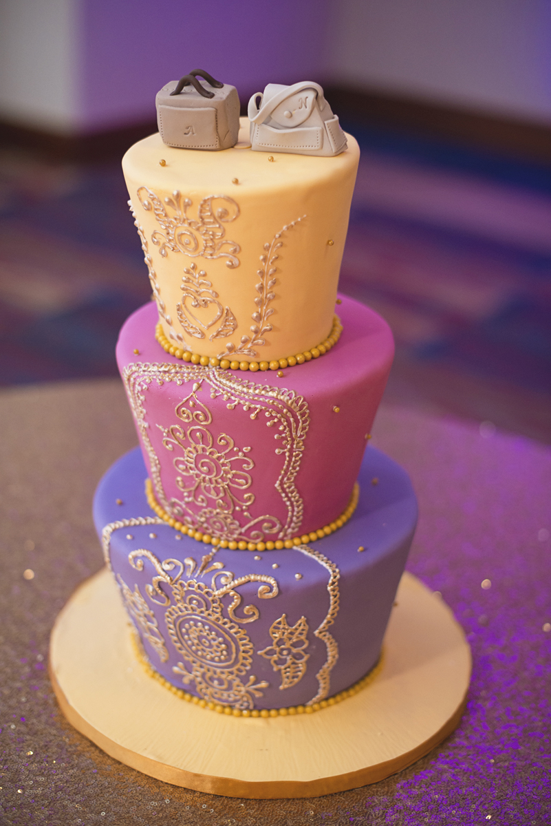 Royal Purple and Gold Indian Wedding | Washington, DC | Travel themed wedding cake