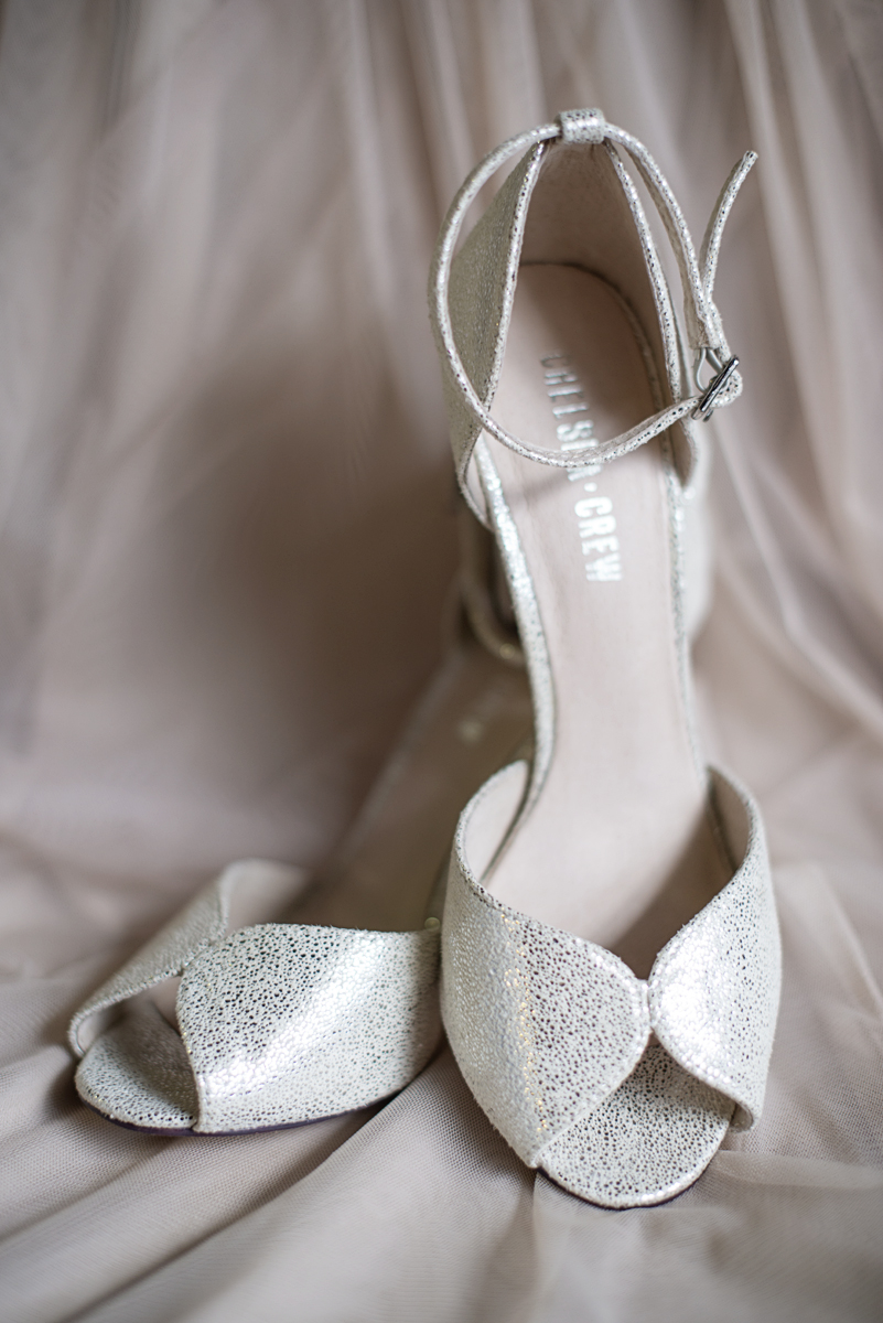Blush and Gray Spring Wedding | Maryland Wedding | Silver bride's shoes