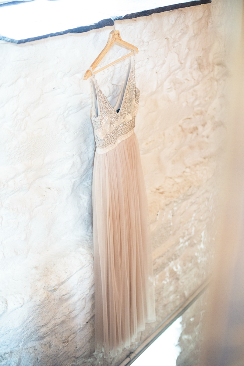 Blush and Gray Spring Wedding | Maryland Wedding | Blush BHLDN Bridal Gown