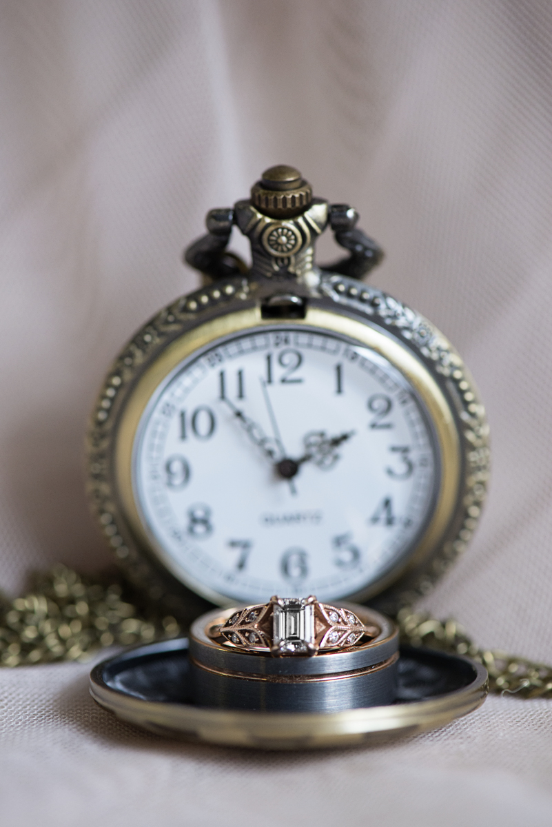 Blush and Gray Spring Wedding | Maryland Wedding | Pocket watch ring shot