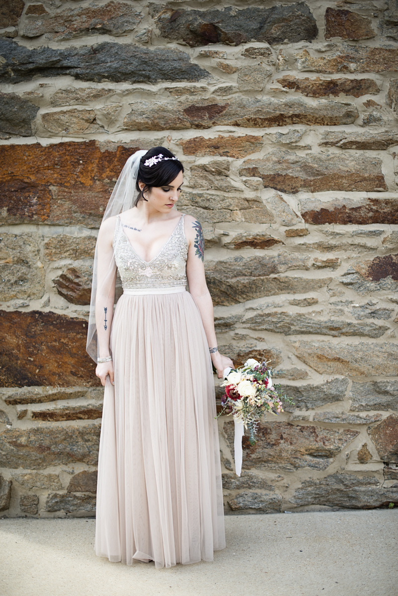 Blush and Gray Spring Wedding | Maryland Wedding | Blush BHLDN Wedding Dress