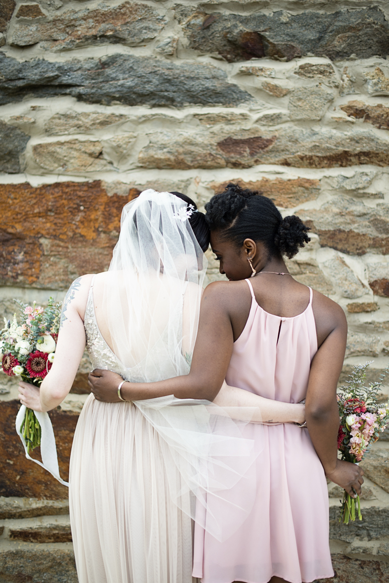 Blush and Gray Spring Wedding | Maryland Wedding | Intimate bridal party picture