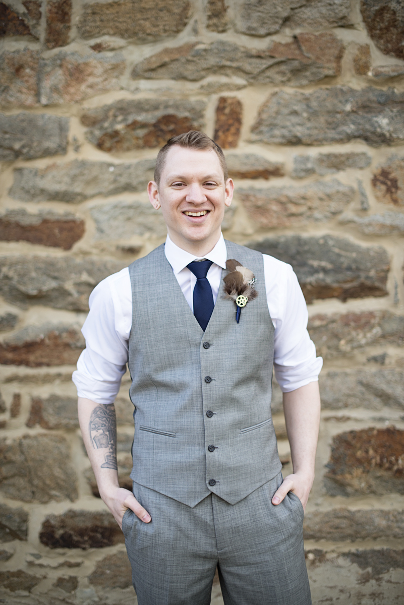 Blush and Gray Spring Wedding | Maryland Wedding | Tattooed groom portrait