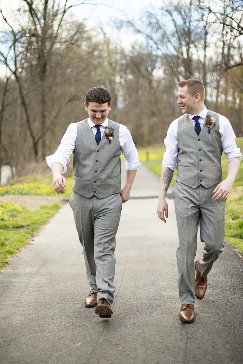 Blush and Gray Spring Wedding | Maryland Wedding | Gray groomsmen portrait